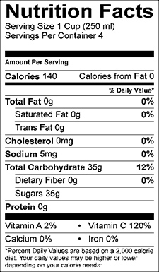 foto Passion Fruit Juice Nutrition Facts